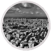 Round Beach Towel featuring the photograph Tel Aviv Center Black And White by Ron Shoshani
