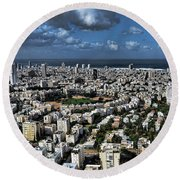 Round Beach Towel featuring the photograph Tel Aviv Center by Ron Shoshani