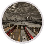 Tel Aviv Central Railway Station Round Beach Towel