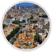 Round Beach Towel featuring the photograph Tel Aviv Eagle Eye View by Ron Shoshani