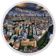 Tel Aviv Lookout Round Beach Towel