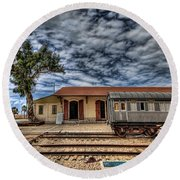 Tel Aviv Old Railway Station Round Beach Towel