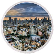 Round Beach Towel featuring the photograph Tel Aviv Skyline Winter Time by Ron Shoshani
