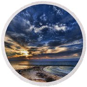 Tel Aviv Sunset At Hilton Beach Round Beach Towel
