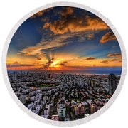 Tel Aviv Sunset Time Round Beach Towel