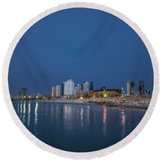 Tel Aviv The Blue Hour Round Beach Towel