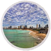 Round Beach Towel featuring the photograph Tel Aviv Turquoise Sea At Springtime by Ron Shoshani