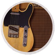 Round Beach Towel featuring the digital art Telecaster Deluxe by WB Johnston