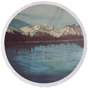 Round Beach Towel featuring the painting Telequana Lk Ak by Terry Frederick