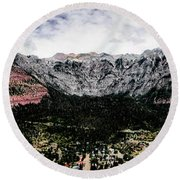 Telluride From The Air Round Beach Towel