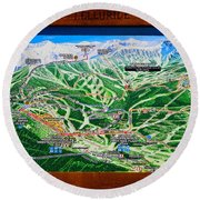 Telluride Ski Map Detail  Round Beach Towel by David Lee Thompson