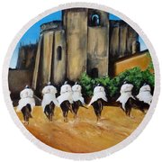 Templar Knights And The Convent Of Christ Round Beach Towel