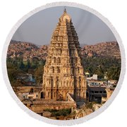 Temple At Hampi Round Beach Towel