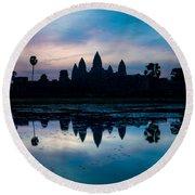 Temple At The Lakeside, Angkor Wat Round Beach Towel