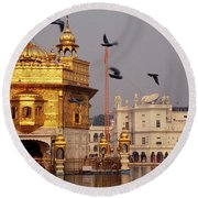 Temple At The Waterfront, Golden Round Beach Towel