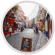 Round Beach Towel featuring the photograph Temple Bar by Mary Carol Story