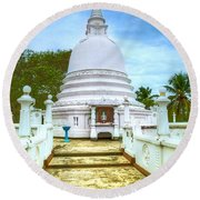 temple complex at the tropical island Sri Lanka Round Beach Towel
