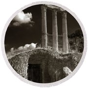 Temple Of Castor And Polux Round Beach Towel