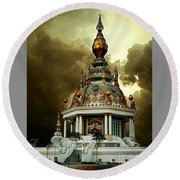 Temple Of Clouds  Round Beach Towel