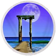 Round Beach Towel featuring the photograph Temple Of The Atlantic by Kathy Baccari
