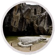 Temple Of The Condor Round Beach Towel