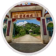 Temple On The Hill Round Beach Towel