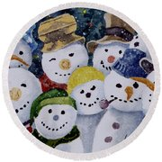 Ten Little Snowmen Round Beach Towel