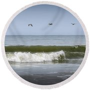 Round Beach Towel featuring the photograph Ten Pelicans by Steven Sparks