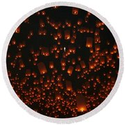 Ten Thousand Lantern Launch Round Beach Towel by Nola Lee Kelsey