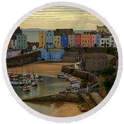 Tenby Harbour In The Morning Round Beach Towel