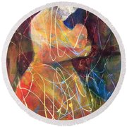 Tender Moment Round Beach Towel by Marilyn Jacobson