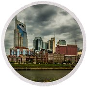 Tennessee - Nashville From Across The Cumberland River Round Beach Towel