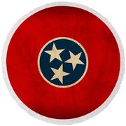 Tennessee State Flag Art On Worn Canvas Round Beach Towel