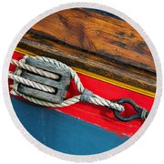 Tension On The Sailing Vessel Round Beach Towel