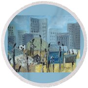 Round Beach Towel featuring the painting Tent City Homeless by Judith Rhue