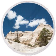 Round Beach Towel featuring the photograph High Noon At Tent Rocks by Roselynne Broussard