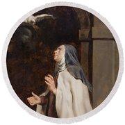 Teresa Of Avilas Vision Of A Dove Round Beach Towel by Peter Paul Rubens