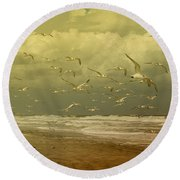 Terns In The Clouds Round Beach Towel