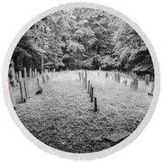 Terpenning Cemetery B And W Round Beach Towel