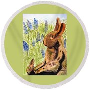 Round Beach Towel featuring the painting Terra Cotta Bunny Family by Angela Davies