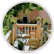 Terrace At A Guest House At Waterloo Round Beach Towel