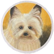 Round Beach Towel featuring the painting Terrier by Jeanne Fischer