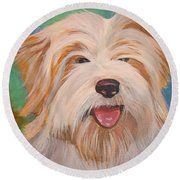 Terrier Portrait Round Beach Towel