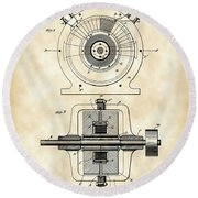 Tesla Alternating Electric Current Generator Patent 1891 - Vintage Round Beach Towel