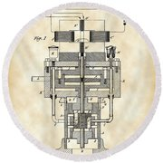 Tesla Electric Generator Patent 1894 - Vintage Round Beach Towel by Stephen Younts