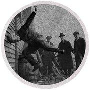 Testing Football Helmets In 1912 Ouchhhhh Round Beach Towel