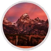 Round Beach Towel featuring the photograph Teton Color by Benjamin Yeager