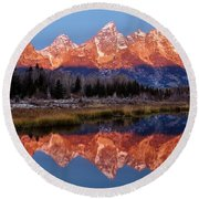 Round Beach Towel featuring the photograph Teton Majesty by Benjamin Yeager
