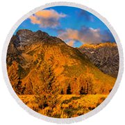 Teton Mountain View Panorama Round Beach Towel by Greg Norrell