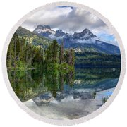 Teton Mountains Reflected In Taggart Lake Round Beach Towel